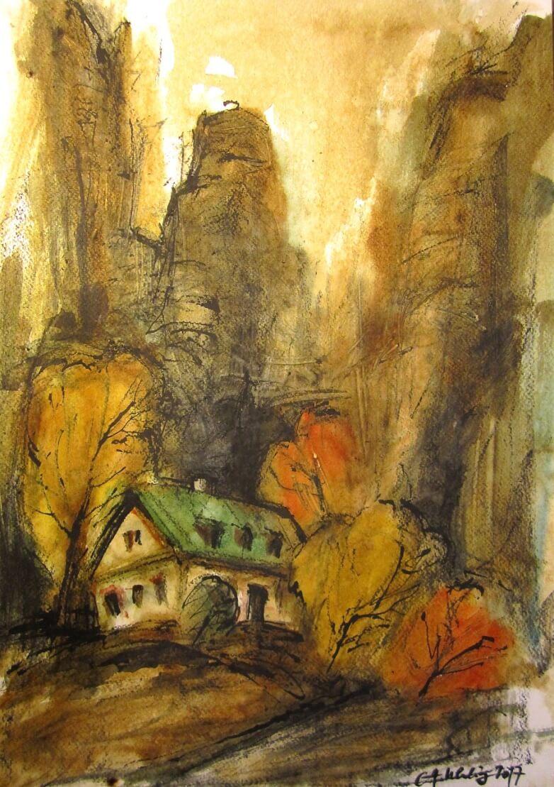Landschaftsbild in Erdtönen mit einem Haus im Wald.