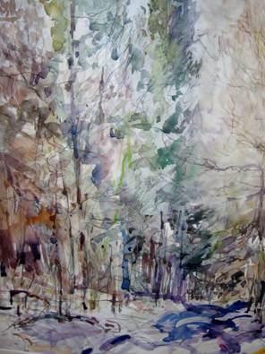 Verschneiter Waldweg, 50 x70cm, Aquarell (© B. Grahl)